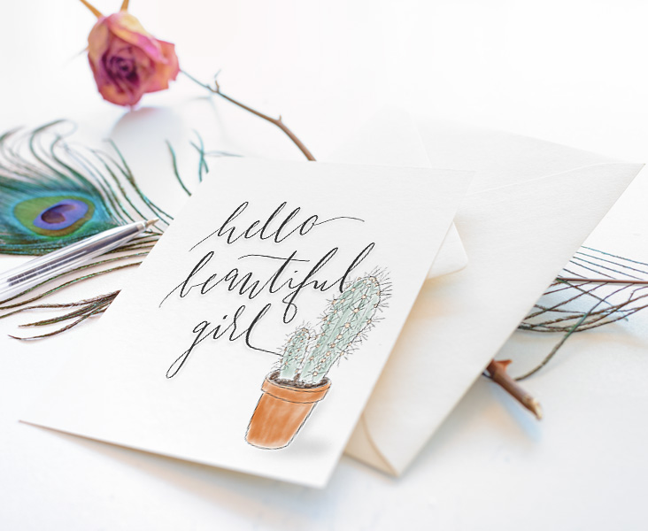 Postkarte Hello Beautiful Girl Wild Hippie Studio